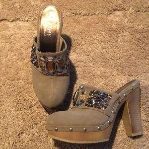 """Kathy Van Zeeland """"Cady"""" gem & heeled clogs"""